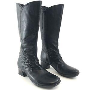 Earth Platform Tall Black Leather Heeled Boots 9.5
